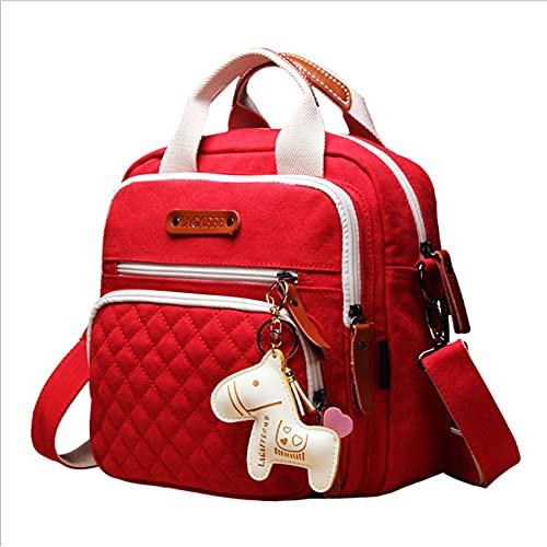 MiduoHu Bolso Cambiador de Pañales para Bebé de Código Pequeño Multifunción Mochila para Mamá Impresión de Moda Bolso Cuadrado pequeño de Lona Mamá/Papá Viaje con Bebé (Color : Red A)