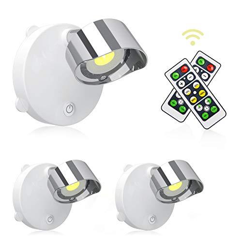 Lightess Focos LED Interior Pared Pilas con Control Remoto, Iluminación de Pasillo, Escalera, Dormitorio, 110LM (blanco cálido-2)