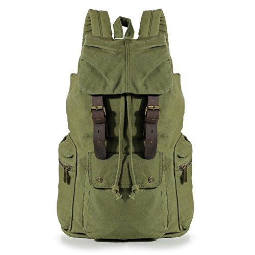Koolertron nuovo zaino da uomo o da donna in pelle d'epoca tela zaino trekking viaggio tote bag colore: verde olive