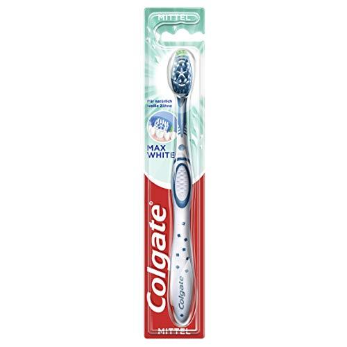 Colgate Zahnbürste Max White, mittel, 1 Stück - Handzahnbürste für einen rundum gereinigten Mund plus weißere Zähne, mittelharte Borsten