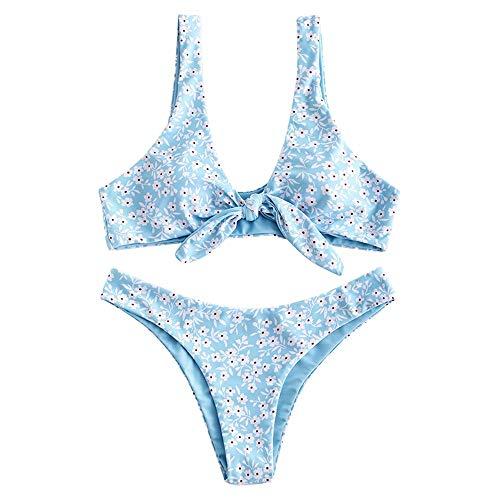 ZAFUL - Conjunto de bikini para mujer, diseño de flores, cintura baja, nudo delantero, dos piezas