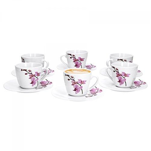 Van Well 6er Set, 2-TLG. Kaffeetassen-Set Kyoto, kleine Tasse 180 ml + Untertasse, edles Porzellan, Kaffee-Geschirr, Blumen-Dekor Orchidee, rosa-rot, pink