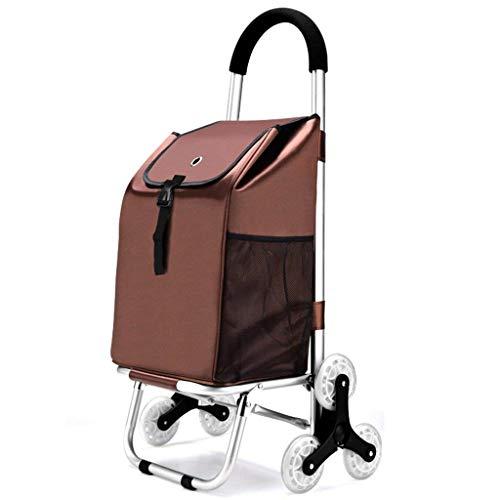 LLSS Einkaufswagen, Treppe Einkaufsgepäck Faltbar Tragbar Gepolstert wasserdichte Tasche Aluminium Gepäckwagen Wagenanhänger Kann 50 kg Gewicht aushalten