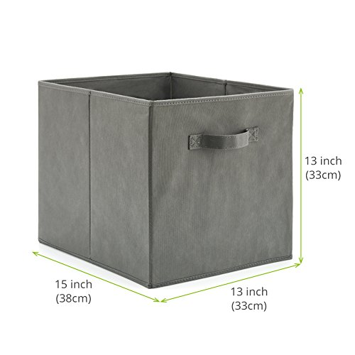 EZOWare Set of 4 Foldable Fabric Basket Bin, Collapsible Storage Cube Boxes for Nursery Toys (13 x 15 x 13 inches) (Gray)