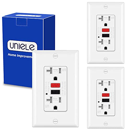 (3 Pack) UNIELE 20 Amp 125 Volt GFCI Receptacle Outlet, Weather Resistant and Tamper Resistant GFI, Outdoor Ground Fault Circuit Interrupter Outlet with LED Indicator, 20A/125V, ETL Certified