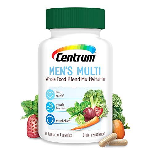 Centrum Whole Food Multivitamin for Men, with Vitamin C, Vitamin D, Zinc, Vegetarian + Gluten Free, 30 Day Supply -60 Capsules