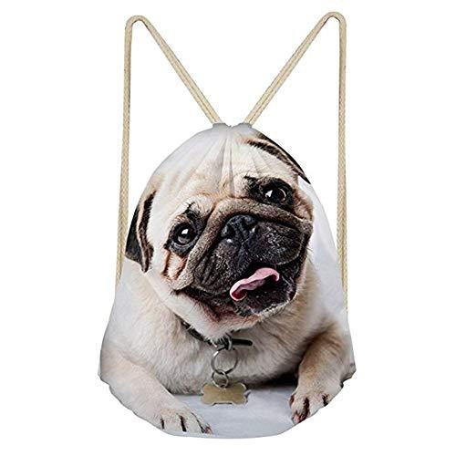 INSTANTARTS Cute Pug Drawstring Backpack School Shoulder Bag Travel Cinch Sport Gymsack
