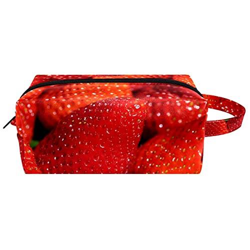 Bolsa de cosméticos y estuche portátil para llevar en viaje, bolsa de maquillaje, bolsa de equipaje, organizador para hombres y mujeres, fresas rojas grandes