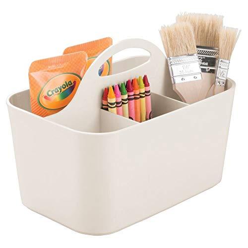 mDesign tragbarer Organizer – kleine Aufbewahrungsbox für Bastelsachen und Nähutensilien – Aufbewahrung für Stifte, Knöpfe, Scheren und Farben – hellgrau