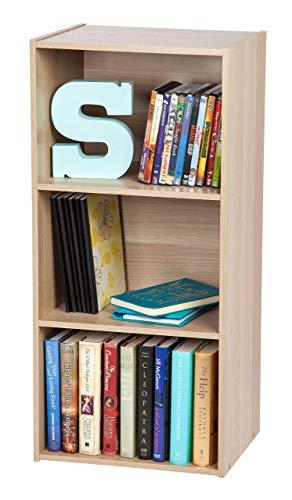 Iris Ohyama Cube Bookcase CX-3 Muebles de Almacenamiento 3 nichos/Estantería 3 repisas de Madera CX-3-Roble Claro, 41.5 x 29 x 88 cm, MDF, Beige