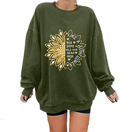 Sweatshirts for Women Women's Tops Winter Sun Printing Sweatshirt Pullover Tops Print Sweatshirt Long Sleeve Tops Basic Jumper Tunic Blouse Shirts Long Sleeve Crew Neck Shirts Tops (Green, XL)