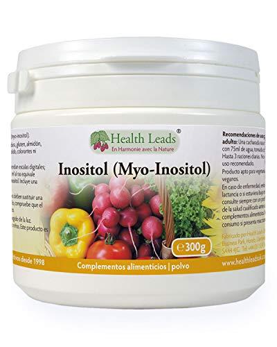 Inositol (Myo-Inositol) en polvo 300g, También llamado Vitamina B8, Alta absorción, VEGANO, Sin Estearato de magnesio o aditivos desagradables, Incluye cucharada gratis, Producido en Gales