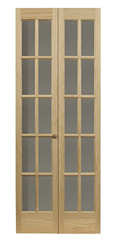 Pinecroft 852720 Traditional Divided Glass French Bifold Intior Wood Door, 24' x 80', Unfinished
