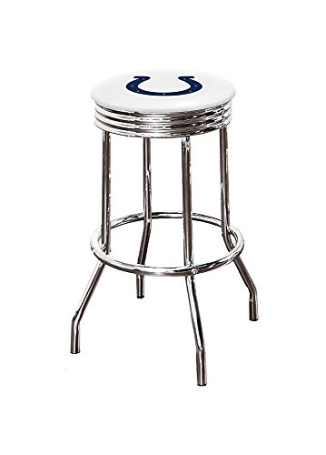 The Furniture Cove 29' Football Themed Custom Specialty Chrome Swivel Seat Bar Stools Featuring the Colts