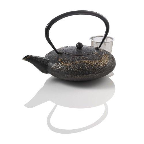 Happy Sales Cast Iron Tea Set Imperial Dragon Black /& Gold