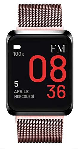 Florence Marlen - Reloj inteligente para hombre y mujer FM1S, correa de malla milanesa, impermeable, pulsómetro, podómetro, notificaciones iOS y Android