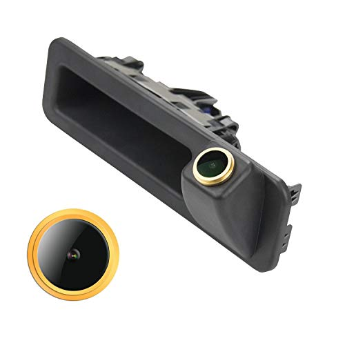 HD Goldene Rückfahrkamera 1280 * 720 Pixel 1000TV Linien Kamera für BMW 3er F30 5er F10 F11 X1 F48 X3 F25 X5 F15 320Li/530i/328i/535Li/520Li,Wasserdicht Nachtsicht Einparkhilfe Rueckfahrkamera