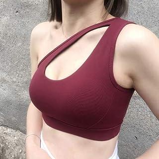 Women's Sports Bra Sexy One Shoulder Personality Oblique for Running Fitness Bra Yoga Gym Clothing Athletic Underwear zhen...