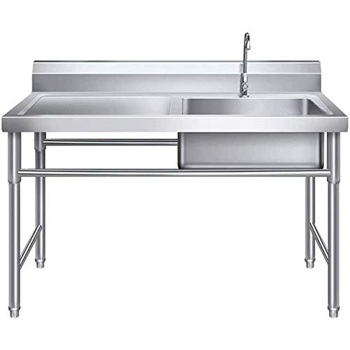 Cushion Heavy-Duty 304 Stainless Steel Sink with Drainboard, Easy to Clean Freestanding Sink, Suitable for Kitchen Laundry Room Indoor and Outdoor
