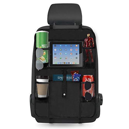 AMAZING MAG Auto Rückenlehnenschutz, Kinder Autositz Organizer und Trittschutz mit 10'' iPad Tablet Halterung, Rücksitz Organizer wasserdicht + waschbar