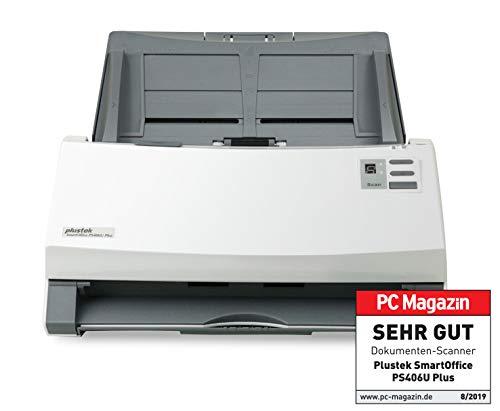 Plustek SmartOffice PS406U Plus Duplex Dokumentenscanner mit Ultraschall- Doppelblatterkennung (ADF, 600dpi, 40ppm)