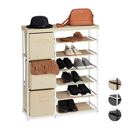 Relaxdays ladenkast stof, stofcommode, 3 laden, metalen frame, 9 vakken, 96 x 80,5 x 28,5 cm, wit-beige, metaal, polyester, kunststof