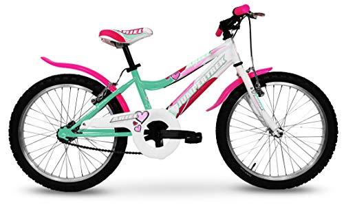 Bici per bambina MTB 20'' Bicicletta Jumpertrek Ariel Mountain Bike Rosa Fucsia (Acqua Marina)