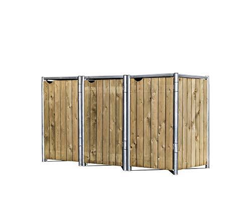 Hide Mülltonnenbox für 3 Mülltonnen, Mülltonnenverkleidung, Gerätebox Natur // 209x81x115 cm (BxTxH) // Aufbewahrungsbox 240l Volumen