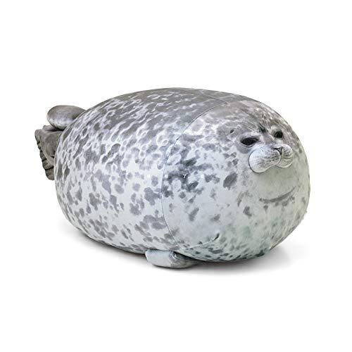 Tiowo Almohada grande con sello de blobes, de algodón, con diseño de animales de peluche, suave para abrazar, cojín decorativo para el hogar (gris, 30 cm)