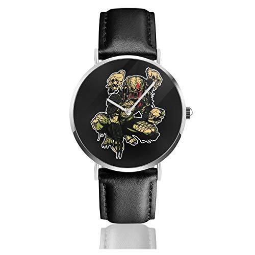 Unisex Business Casual On The Prowl Predator Uhren Quarz Leder Uhr mit schwarzem Lederband für Männer Frauen Junge Kollektion Geschenk