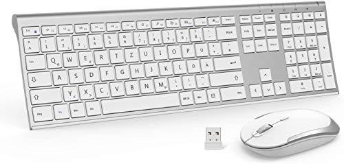 Jelly Comb Kabellose Tastatur und Maus, 2,4G Ultradünne Funktastatur und Maus mit Ziffernblock, Full-Size Wiederaufladbare QWERTZ Tastatur für Computer, Laptop, Notebook, Windows(Weiß und Silber)