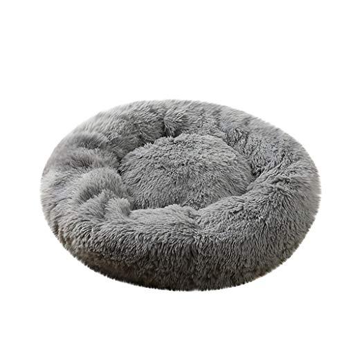 Yowablo Hund Runde Katze Winter Warmer Schlafsack Langes Plüsch Weiches Haustierbett Beruhigendes Bett (80 * 80 * 26cm,1- Grau)