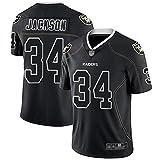 Camiseta de Rugby Las Vegas Raiders 34# Jackson, Camisetas de fútbol Americano Jackson # 34, Camiseta Deportiva de Manga Corta Bordada de Secado rápido-Black-M