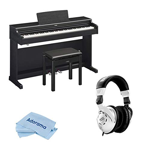 Yamaha Arius YDP-164 88-Key Traditional Console Digital Piano with Bench & PA-300C AC Power Adapter, Black Walnut - With H&A Closed-Back Studio Monitor Headphones