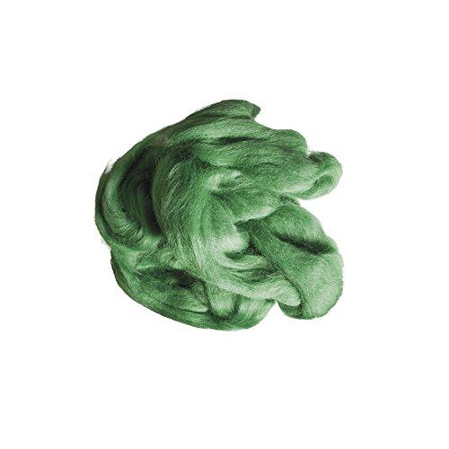 Rayher 5360029 Reine Schurwolle, Kammzug, Beutel 50g, grün
