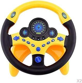LuDa 2Pc Driver Steering Wheel Toy Play Children Yellow Simulation Steering Wheel