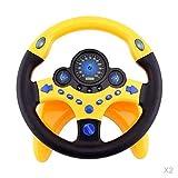 T TOOYFUL 2 × Volant de Simulation de Voiture Jaune pour Enfants + Clignotant à LED + Bouton D'alarme