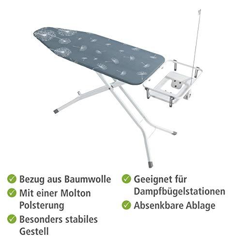 Wenko Bügeltisch Professional, extra breites Bügelbrett mit großer Ablage für die Dampfbügelstation, mit Bügelbrettbezug, geeignet für Dampfbügeleisen, Metall, 130 x 99 x 48 cm, weiß/blau - 3