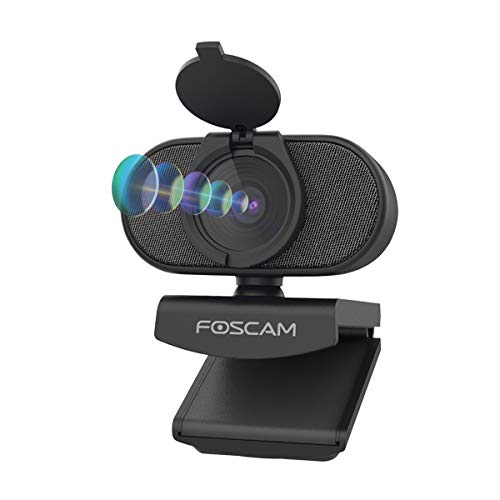 Foscam 2K 4MP Webcam with Dual Noise Reduction Microphones, USB Web Cam with Auto Light Correction for Desktop PC Computer Laptop, Windows Mac OS, Includes Flexible Mount & Privacy Cover, W41