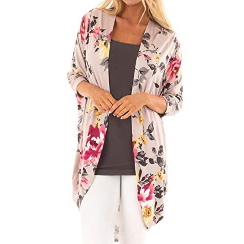 Cardigans Mujer Kimono Largo 2019 Nuevo SHOBDW Pareos Manga Larga Cardigans Mujer Flores Boho Gasa Playa de Verano Cover Up Mujer Suelto Tops Blusa Tallas Grandes S-3XL(Caqui,XXL)