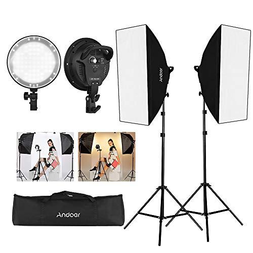 Andoer Softbox Iluminación Kit de Fotografía con 45W 2700K/5500K Luz LED de Dos Colores Actualizada, Light Stand 200cm, Softbox 50*70cm, Estuche Portátil para Foto, Estudio Retratos, Grabación Vídeo