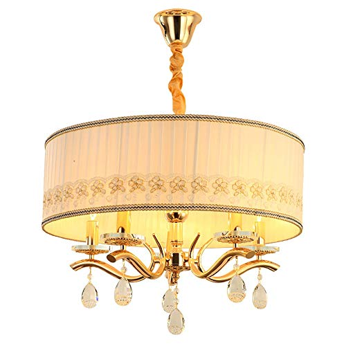 KK Gabby Cubierta De Tela Redonda Sala Sala Dormitorio Comedor Sala De Estar Luz Lujo Creativo Vidrio Metal Europeo Lámpara LED (60 * 60 * 35 Cm)