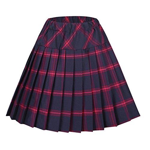 Urbancoco Damen Schulmädchen-Stil Tartan Skater Röcke (XL, #8 rot)