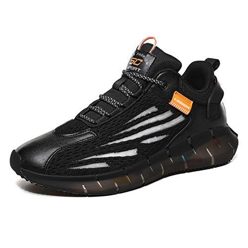 Zwarte Sneakers Hardloopschoenen Voor Heren, Casual Sportschoenen Wandelschoenen Lichtgewicht Veterschoenen Gym Sport Tennisschoenen,Black-39