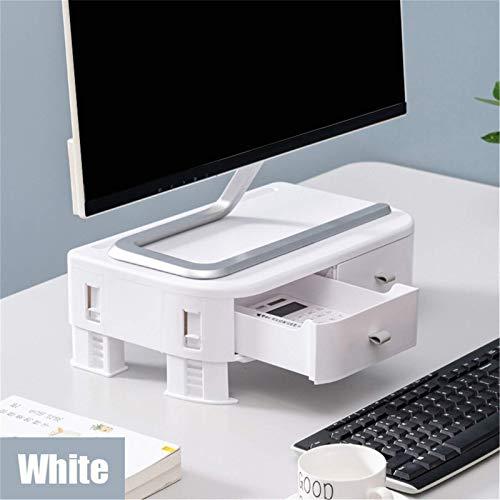 Soporte para monitor y monitor de ordenador, altura ajustable, con LED, LCD, soporte con 2 cajones de almacenamiento, soporte para monitor (tamaño: 36 x 22 x 8 cm), color blanco