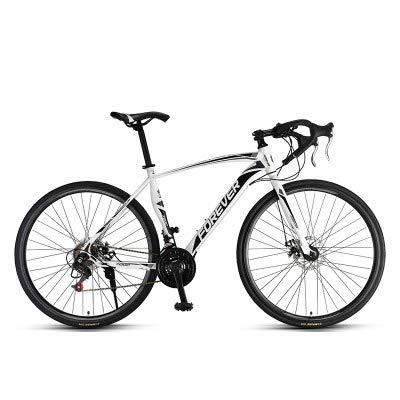 MIRC Road Bike Mountain Bike Racing Men's Aluminum Alloy Adult Ultra Light 700c Broken Wind Speed,White,M