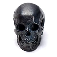 Glintbay ハンドメイド スターリングシルバー スカル ビーズ オートバイ 重機関車 パンク ペンダント Antique-M Skull Bead