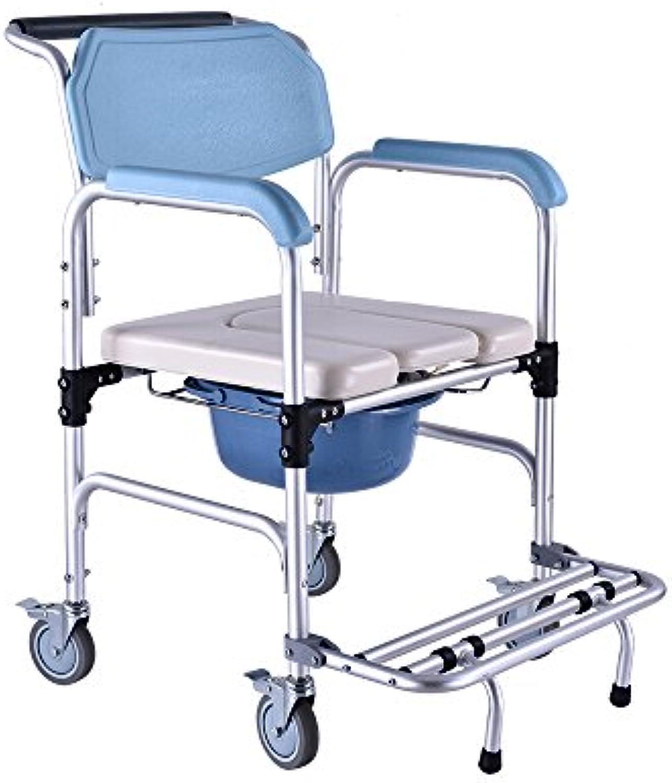 PIGE Aluminium-Duschstuhl faltende Bedsidetoilette Bett-WC Rollen und gepolsterter Sitz, Toiletten-Eimer und Abdeckung Gre  56  53  90