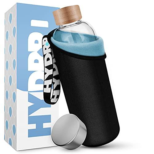 HYDROP® - Glasflasche 1 Liter & 750ml mit 2 Farben PRO SCHUTZHÜLLE [Innen & Außen] - Trinkflasche Glas 1l & 750ml für unterwegs auslaufsicher - Glas Trinkflasche 1l für Sport, Büro, Uni & Kinder