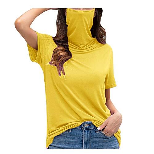 YANFANG Camiseta Holgada Informal con Cuello Redondo y Manga Corta con mascarilla y Blusa para Mujer,Camiseta Básica 100% Algodón Orgánico para Mujer